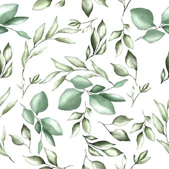 Padrão sem emenda com folhas em aquarela