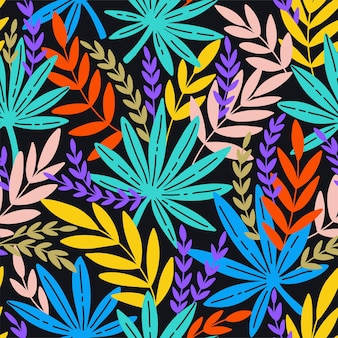 Padrão sem emenda com folhas exóticas. folhas tropicais de palmeira. fundo do vetor.