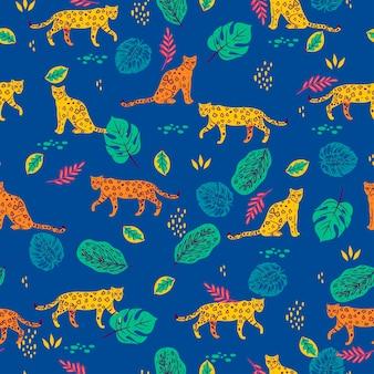 Padrão sem emenda com folhas tropicais e leopardos.