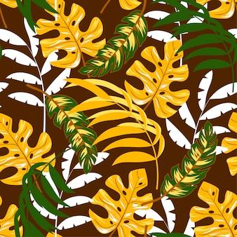 Padrão sem emenda com folhas tropicais em fundo escuro