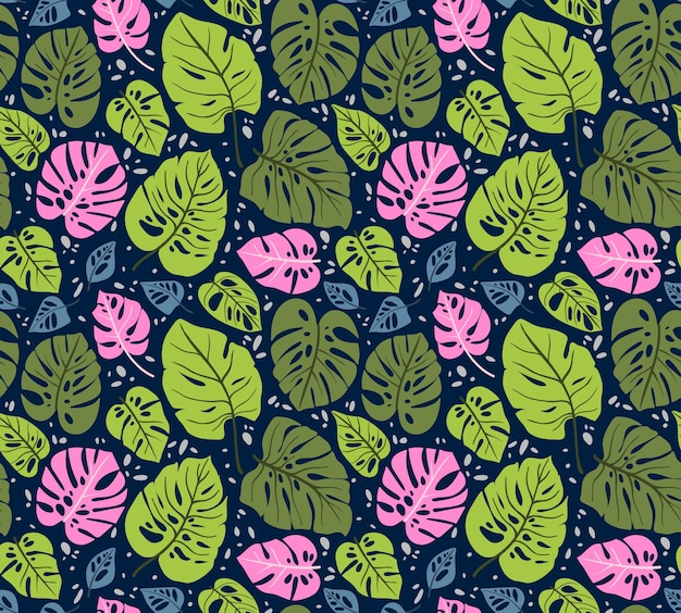 Padrão sem emenda com folhas tropicais. folha de monstera. ornamento floral da selva.