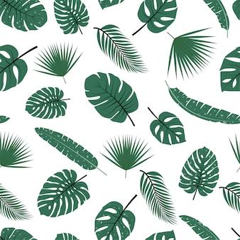 Padrão sem emenda com folhas tropicais.