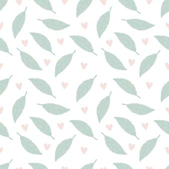 Padrão sem emenda com folhas verdes e corações rosa em um fundo branco