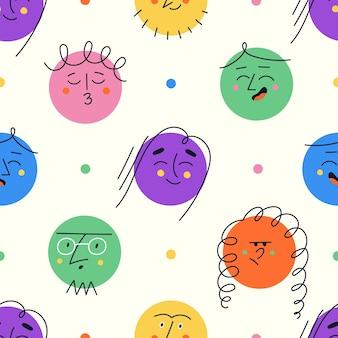 Padrão sem emenda com formas redondas coloridas que mostram emoções diferentes. personagens engraçados. emoji moderno com rostos felizes, tristes e zangados.