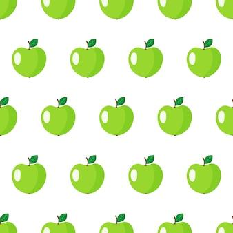 Padrão sem emenda com fruta maçã verde inteira com folhas isoladas no fundo branco