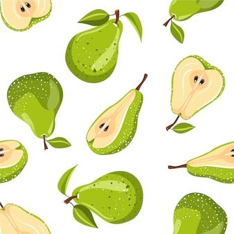 Padrão sem emenda com frutas de pêra verde.