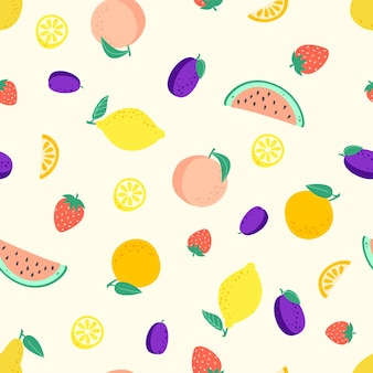 Padrão sem emenda com frutas diferentes, pêssego, limão, melancia, ameixa, morango, laranja, pêra