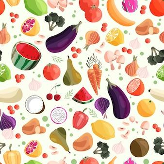 Padrão sem emenda com frutas e vegetais coloridos.