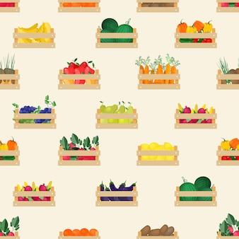 Padrão sem emenda com frutas e vegetais orgânicos naturais em caixas de madeira