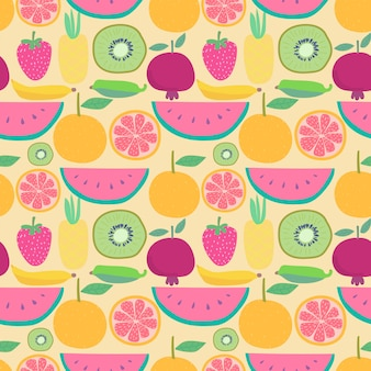 Padrão sem emenda com frutas. ilustrações vetoriais para design de embrulho.
