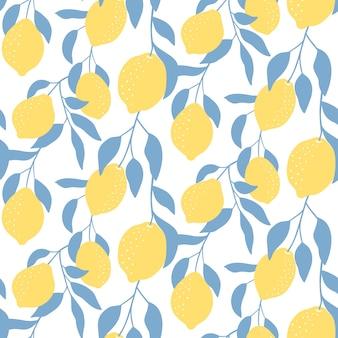 Padrão sem emenda com frutas limão.