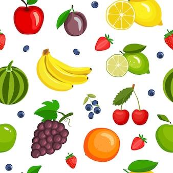 Padrão sem emenda com frutas no estilo cartoon