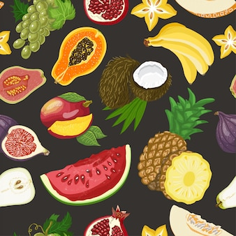 Padrão sem emenda com frutas saudáveis