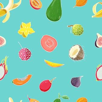 Padrão sem emenda com frutas tropicais exóticas. fundo colorido.