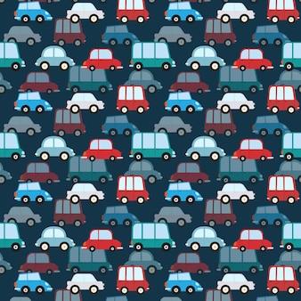 Padrão sem emenda com fundo de carros de desenho animado. ilustração vetorial.