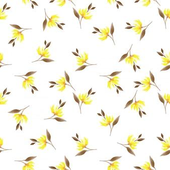 Padrão sem emenda com galhos de flores bonitinho com folhas em estilo aquarela.