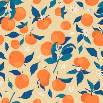 Padrão sem emenda com galhos de laranjas, flores e botões em um bege.