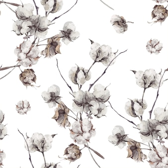 Padrão sem emenda com galhos e flores de algodão.
