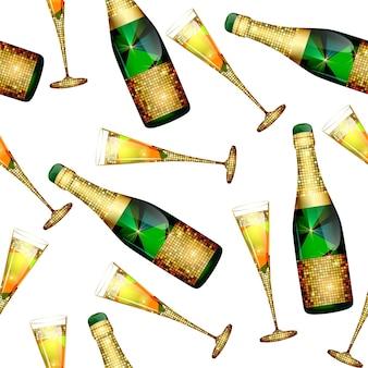 Padrão sem emenda com garrafas de champanhe e taças