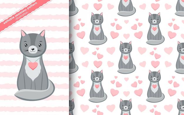 Padrão sem emenda com gatinhos fofo kawaii cinza com corações rosa em estilo cartoon. mão desenhada textura de dia dos namorados.