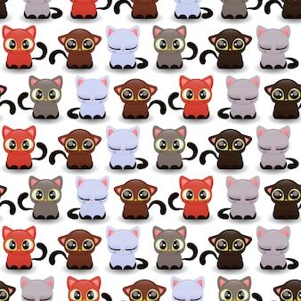 Padrão sem emenda com gatinhos fofos de várias cores