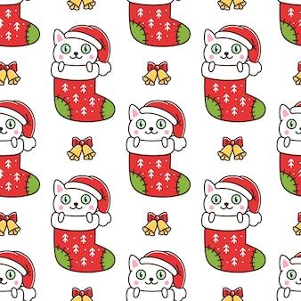 Padrão sem emenda com gato engraçado em meia de natal em fundo branco