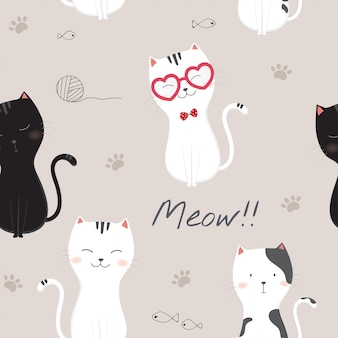 Padrão sem emenda com gatos bonitos dos desenhos animados.