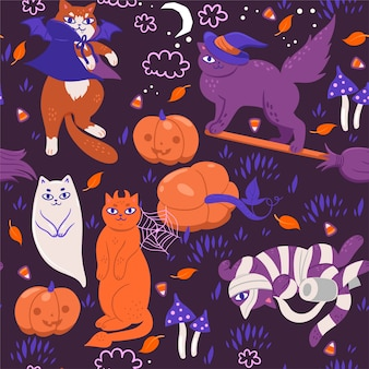 Padrão sem emenda com gatos de halloween.