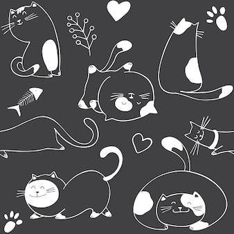 Padrão sem emenda com gatos diferentes em fundo preto
