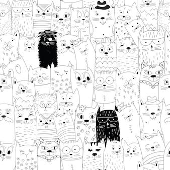 Padrão sem emenda com gatos doodle.