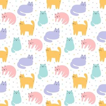 Padrão sem emenda com gatos em diferentes poses e confetes
