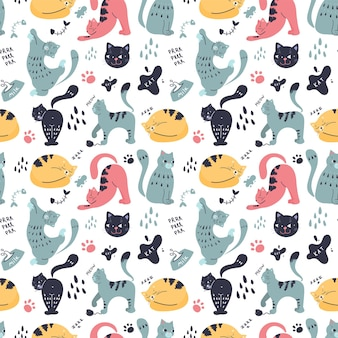 Padrão sem emenda com gatos em diferentes poses e cores diferentes. animais de estimação engraçados. desenho no estilo escandinavo.