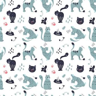 Padrão sem emenda com gatos fofos de estimação em diferentes poses. personagens elegantes e característicos. gráficos vetoriais.