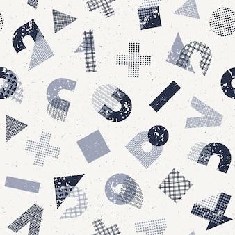 Padrão sem emenda com geometria decorativa texturizada desenhada à mão, símbolos matemáticos e numerais