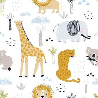 Padrão sem emenda com girafa elefante leopardo e leão em um fundo branco.