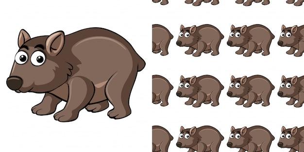 Padrão sem emenda com giro wombat