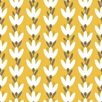 Padrão sem emenda com giros flores sobre fundo amarelo.