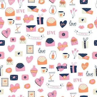 Padrão sem emenda com grande coleção de objetos de amor e símbolos para feliz dia dos namorados. ilustração plana colorida.