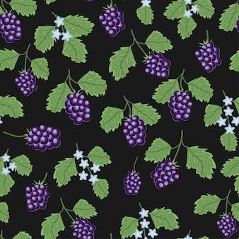 Padrão sem emenda com groselha berry planta e flor