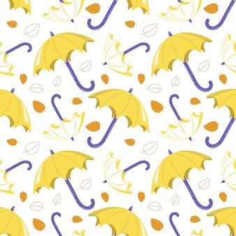 Padrão sem emenda com guarda-chuvas amarelos e folhas em um fundo branco. impressão fofa de outono para têxteis, papel de embrulho e design