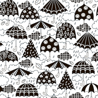Padrão sem emenda com guarda-chuvas preto e branco