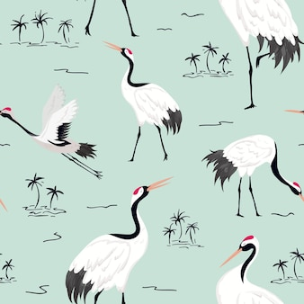 Padrão sem emenda com guindastes japoneses, fundo de pássaro retrô, impressão de moda, conjunto de decoração japonesa de aniversário. ilustração vetorial