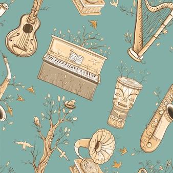 Padrão sem emenda com guitarra, harpa, saxofone, piano, tambor de djembe, gramofone, plantas e pássaros. ilustração de música ao vivo. música da natureza.