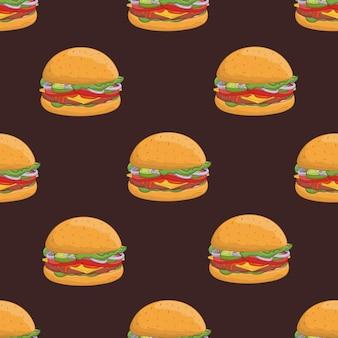 Padrão sem emenda com hambúrgueres apetitosos. saborosos hambúrgueres ou cheeseburgers, deliciosa comida de rua