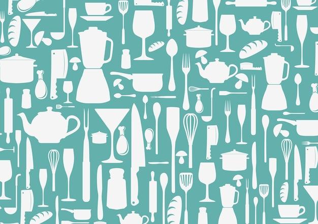 Padrão sem emenda com ícones de cozinha