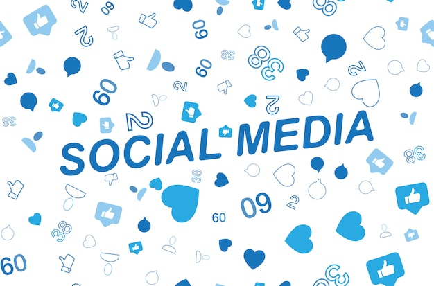 Padrão sem emenda com ícones de redes sociais e símbolos de notificações
