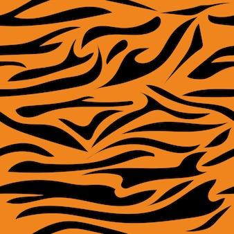 Padrão sem emenda com ilustração colorida de tigre com listras de tigre listras pretas em um fundo laranja