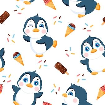 Padrão sem emenda com ilustração de pinguins fofos