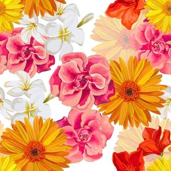 Padrão sem emenda com ilustração em vetor tropicall flor