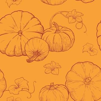 Padrão sem emenda com ilustração vetorial de abóboras desenhadas à mão